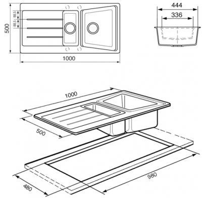 Мойка кухонная Smeg LS102P2 - габаритные размеры