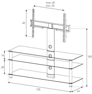 Стойка для ТВ/аппаратуры Sonorous Neo 1303 Black Glass-Black - габаритные размеры