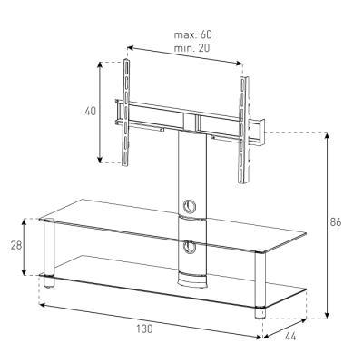 Стойка для ТВ/аппаратуры Sonorous Neo 130 Black Glass-Silver - габаритные размеры