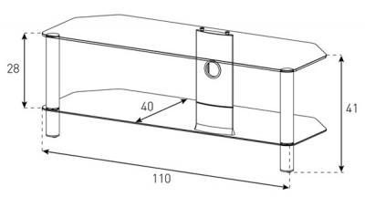 Стойка для ТВ/аппаратуры Sonorous Neo 2110 Transparent Glass-Silver - габаритные размеры