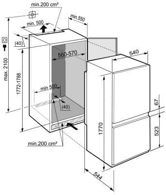 Холодильник с морозильником Liebherr ICBS 3214 - габаритные размеры
