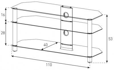 Стойка для ТВ/аппаратуры Sonorous Neo 3110 Black Glass-Black - габаритные размеры