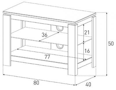 Стойка для ТВ/аппаратуры Sonorous HG 830 Black - габаритные размеры