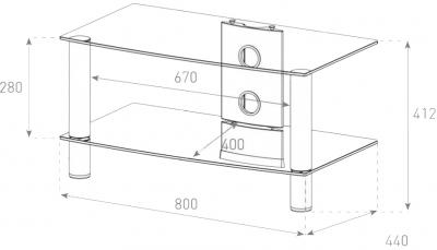 Стойка для ТВ/аппаратуры Sonorous LF 6120 Transparent Glass-Silver - габаритные размеры