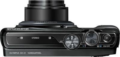 Компактный фотоаппарат Olympus SH-21 Black - вид сверху