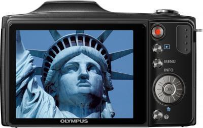 Компактный фотоаппарат Olympus SZ-14 Black - вид сзади