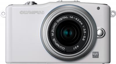 Беззеркальный фотоаппарат Olympus E-PM1 Kit 14-42mm White - вид спереди
