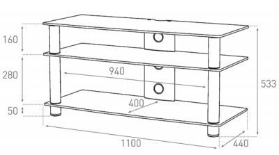 Стойка для ТВ/аппаратуры Sonorous LF 6330 Black Glass-Black - габаритные размеры