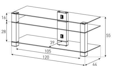 Стойка для ТВ/аппаратуры Sonorous PL 3400 Black Glass-Black - габаритные размеры