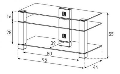 Стойка для ТВ/аппаратуры Sonorous PL 3405 Transparent Glass-Black - габаритные размеры