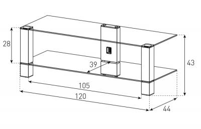 Стойка для ТВ/аппаратуры Sonorous PL 3410 Transparent Glass-Black - габаритные размеры