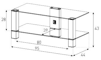 Стойка для ТВ/аппаратуры Sonorous PL 3415 Black Glass-Black - габаритные размеры