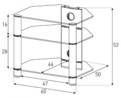 Стойка для ТВ/аппаратуры Sonorous RX 2130 Transparent Glass-Silver - габаритные размеры