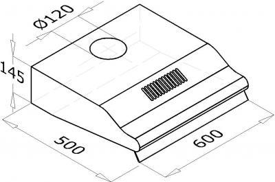 Вытяжка плоская Backer WH10A (60, коричневый) - схема