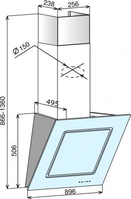 Вытяжка декоративная Elikor Оникс ART 60 (черный/сакура) - схема