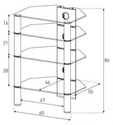 Стойка для ТВ/аппаратуры Sonorous RX 2140 Transparent Glass-Silver - габаритные размеры