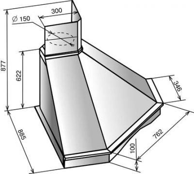 Вытяжка купольная Elikor Форест 90 Beige-Oak Unpainted - схема