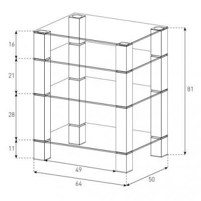 Стойка для ТВ/аппаратуры Sonorous RX 5040 Balck Glass-Inox - габаритные размеры