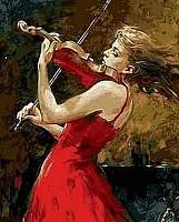Картина по номерам Menglei Скрипачка в красном (MG7627) -