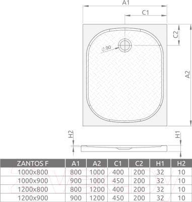 Душевой поддон Radaway Zantos F 800x1000 / M3ZNF1080-06