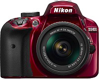 Зеркальный фотоаппарат Nikon D3400 Kit AF-P 18-55mm VR (красный) -