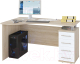 Письменный стол Сокол-Мебель КСТ-104.1 (правый, дуб сонома/белый) -
