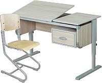 Парта+стул Дэми Ученик СУТ-29 (ясень/серый) -