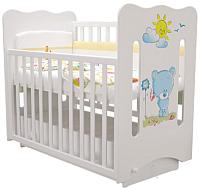 Детская кроватка Laluca Руслана Премиум (белый/медвежонок) -