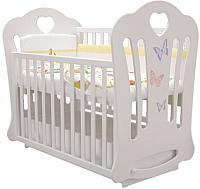 Детская кроватка Laluca Шарлотта Премиум (белый/бабочки) -