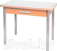 Обеденный стол Древпром М20 90x60 с ящиком (металлик/ясень) -