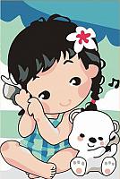 Картина по номерам Menglei Девочка и медвежонок (MC042) -