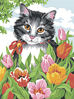 Картина по номерам Picasso Котик в цветах (PC3040003) -