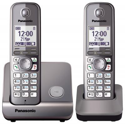 Беспроводной телефон Panasonic KX-TG6712 (серый металлик) - общий вид