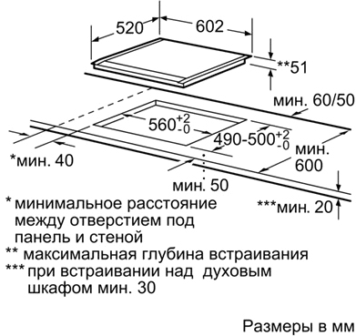 Индукционная варочная панель Siemens EH675MB17E - схема встраивания