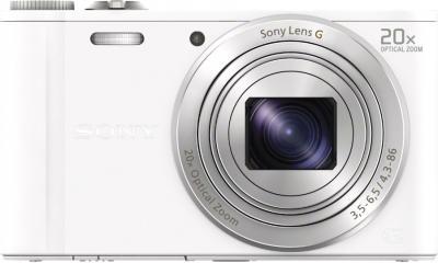 Компактный фотоаппарат Sony Cyber-shot DSC-WX300 White - вид спереди