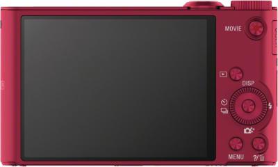 Компактный фотоаппарат Sony Cyber-shot DSC-WX300 (красный) - вид сзади
