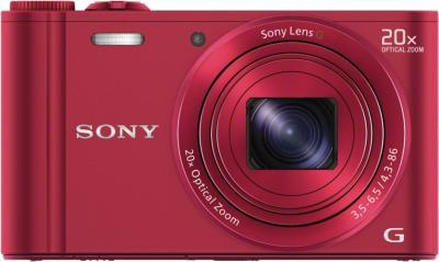 Компактный фотоаппарат Sony Cyber-shot DSC-WX300 (красный) - вид спереди