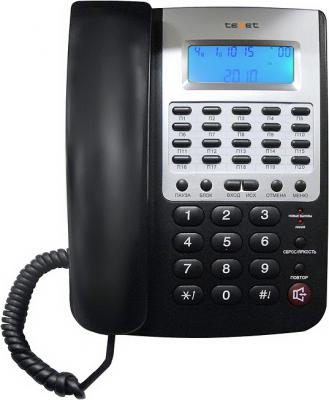 Проводной телефон TeXet TX-249 АОН Black - вид спереди