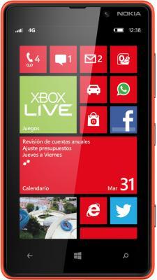 Смартфон Nokia Lumia 820 Red - вид спереди