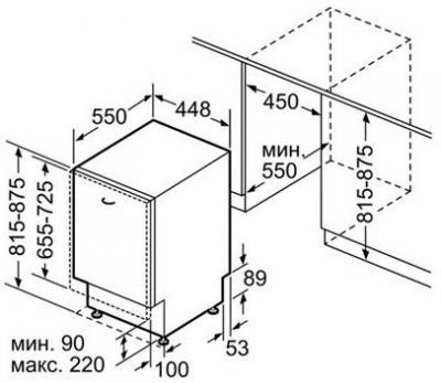 Посудомоечная машина Bosch SPV 69T70 RU - габаритные размеры