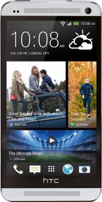 Смартфон HTC One Silver - вид спереди