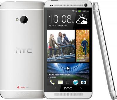 Смартфон HTC One Silver - сзади, спереди и сбоку