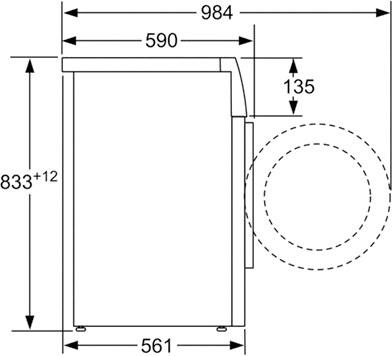 Стиральная машина Bosch WAB20071CE - размеры