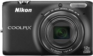 Компактный фотоаппарат Nikon Coolpix S6500 Black - вид спереди