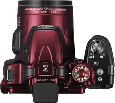 Компактный фотоаппарат Nikon Coolpix P520 Red - вид сверху