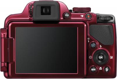 Компактный фотоаппарат Nikon Coolpix P520 Red - вид сзади