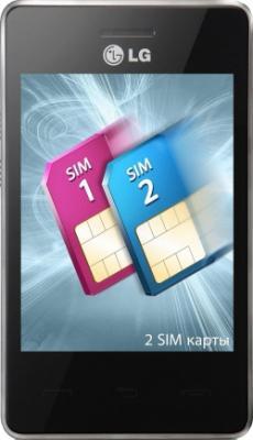 Мобильный телефон LG T375 Cookie Smart Red (Wine Red) - вид спереди