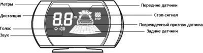 Парковочный радар ParkMaster 8DJ27 (Black) - обозначения