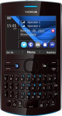 Мобильный телефон Nokia Asha 205 Cyan Dark Rose - вид спереди