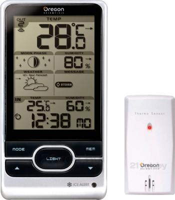 Метеостанция цифровая Oregon Scientific BAR208HG - общий вид c выносным датчиком температуры